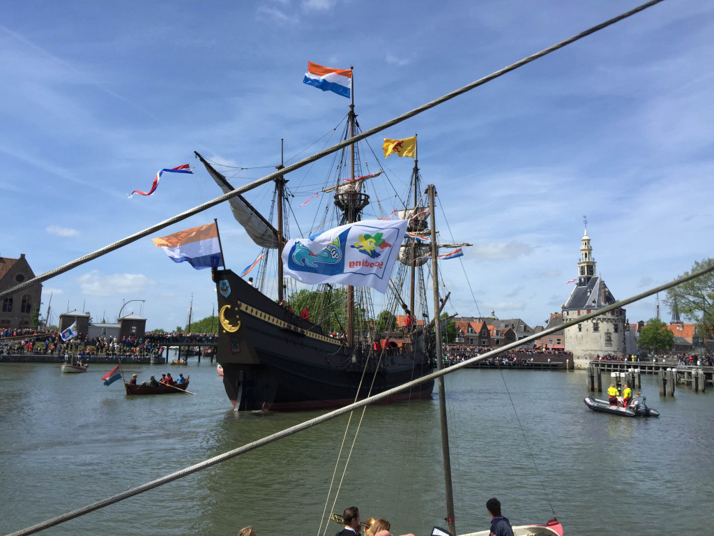 Halve Maen, the replica of Henry Hudson's ship, returning to The Netherlands on May 23, 2015